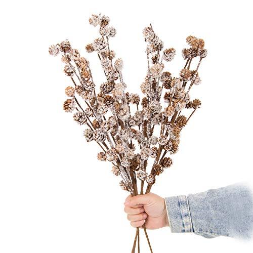 JD Artificial Plants Rama de piña cubierta de nieve, 4 piezas de 27 pulgadas estilo invierno flor seca para corona accesorios y suministros decoración del hogar boda DIY ramo