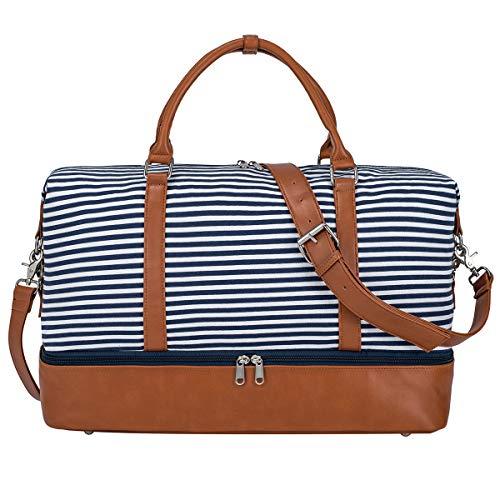 S-ZONE Damen Weekender Reisetasche Übergröße Canvas Tasche mit PU-Lederband und Schuhfach