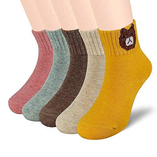 SUNWIND 5 Paar Madchen und Jungen Warme Baumwoll Socken Atmungsaktiv Kinder Bequeme Socken (Niedlicher Bär, 8-12 Jahre /19-22cm)