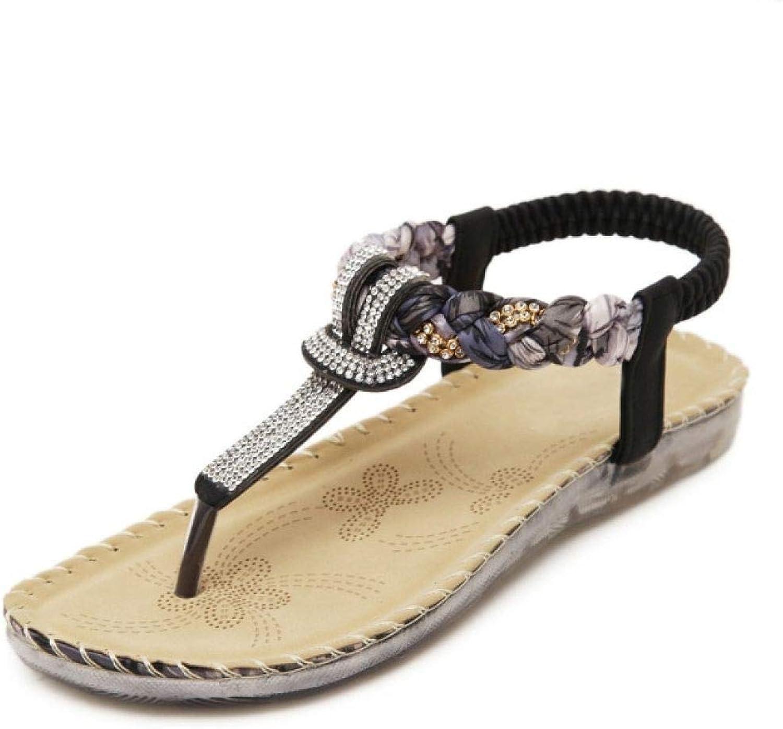 MEIZOKEN Womens T-Strap Rhinestone Bohemian Sandals Elastic Sparkle Ankle Strap Summer Beach Flat shoes Black