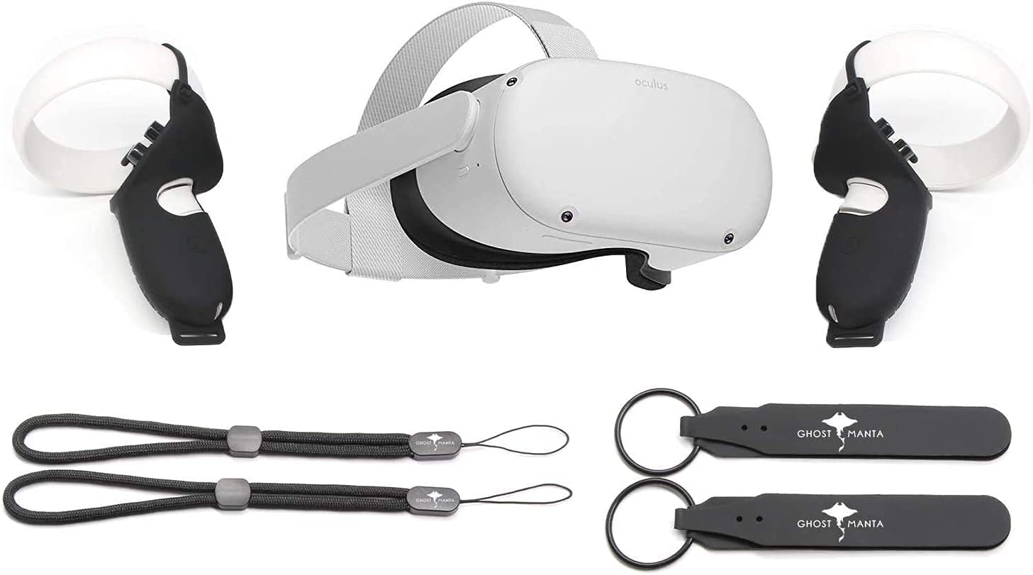 Oculus Quest 2 All-in-One Virtual Reality 64GB Gaming Headset Bundle, Ghost Manta Controller Silicone Controller Protector Grip Cover with Wrist Knuckle Straps
