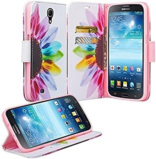Galaxy Mega 6.3 Case, Samsung Galaxy Mega 6.3 GT-I9200 I9205 i527 Case, Luxury PU Wrist Strap Leather Wallet Flip Protective Case Cover with Card Slots and Stand for Galaxy Mega 6.3 - Sun Flower
