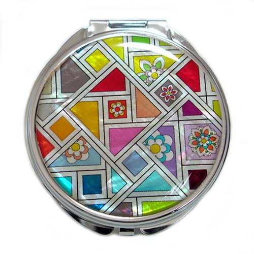 Mother of Pearl Patchwork Design Yellow Orange Blue Double Compact Magnifying Makeup Pocket Mirror by Antique Alive