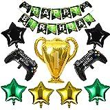 HONGECB Globos de Control de Videojuegos, Suministros de Fiestas de Videojuegos, Globos de Playstation, Banner de Feliz Cumpleaños, Decoraciones para Cumpleaños de Tema de Videojuegos, 10 Piezas