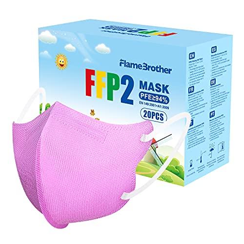 Mini Größe FFP2 Maske CE Zertifiziert - 4,52 * 2,8 Zoll 20 Stück FFP2 Masken 4 Lagige Mundschutzmaske - EN 149 Staubschutzmaske - Rosa