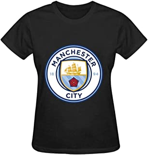 EERFIY Women Manchester City FC Logo 3D Print Crewneck Short Sleeve T-Shirts Fashion Sports Tops