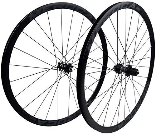 YSHUAI CX Rueda de freno de disco 700C para bicicleta de carretera con doble pared, llanta de aleación de 32 mm, rodamiento sellado QR para tarjeta de 7 a 11 velocidades, color negro