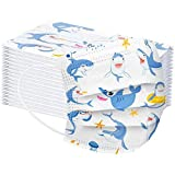Deinaty 50 Pcs Disposable Kids 3 Layers Filter Face Scarf with Earrings Breathability Dinosaur Print Animal Scarf
