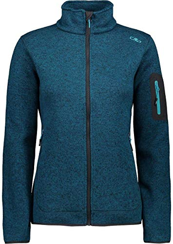 CMP Damen Knit Tech Polyester-Strickfleecejacke Fleecejacke, Deep Lake Mel.-Antracite, D38