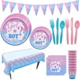 Gender Reveal Party Supplies-Boys or Girls Baby Shower Decorations Gender Reveal Tableware Kit with Banner, Tablecloth, Disposable Paper Plates and Napkins Set, Cups, Forks, Spoons, Knives - Serves 16