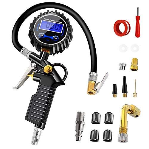 Anykuu Manómetro Presión Neumáticos Digital Manómetro Inflador Neumáticos con Pantalla Digital LCD 220PSI de Alta Precisión Multi Accesorios para Coche Moto Bicicleta y Camión