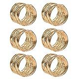 FOROREH 6pcs Serviettenringe Gold Metallmaschen Serviettenringe Set 4.2 * 3.6cm Serviettenhalter Napkin Ring für die Dekoration Hochzeit für Tisch (6 stück)