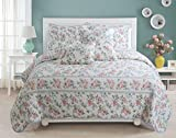 Cozy Line Home Fashions Dream of Narcissus Quilt Bedding Set, Romantic Flower Floral Pink Blue 100% Cotton Reversible Coverlet Bedspread for Women (Narcissus, King - 3 Piece)