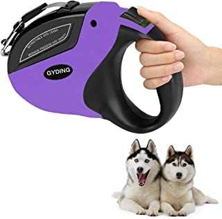 GYDING Retractable Dog Leash, Anti-Slip Pet Walking Jogging Training Leash for Small Medium & Large Dogs Up to 110lbs, Strong Nylon Ribbon Extends 16ft, One Button Brake & Lock