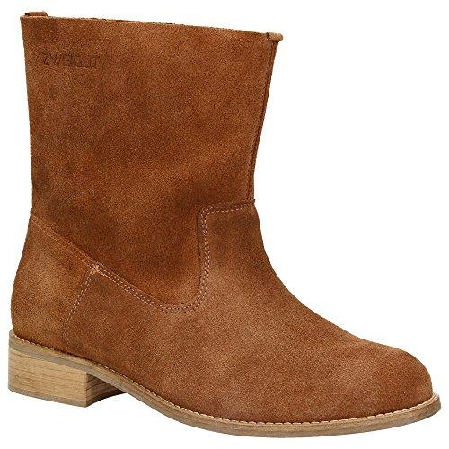 Zweigut® -Hamburg- smuck #210 Leder Stiefelette Damen Herbst mit Komfort MemoryFoam-Innensohle Wildleder Frühling Schuhe, Schuhgröße:41, Farbe:nussbraun