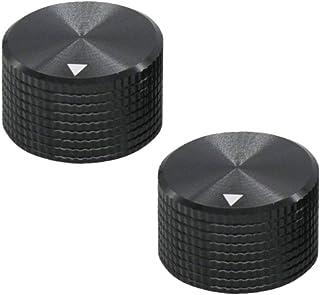 Comidox 25mmx15mm Black Aluminum Rotary Electronic Control Potentiometer Knob Amplifier Knob 2Pcs