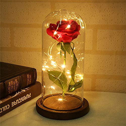 Lyfreen Beauty and The Beast Rose Forever Rose Flowers in LED Glass Red Rose Home Office Decorations Valentine