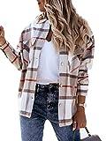 Anaike Camisa de manga larga con botones y bolsillos para mujer, caqui, XL