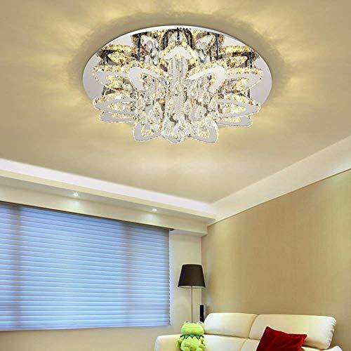 N/Z Inicio Equipos Lámpara de Techo de Cristal LED de Lujo Flores Lámpara de luz 3 Colores Blanco Natural Comedor cálido Sala de Estar Dormitorio Acero Inoxidable Europeo Moderno