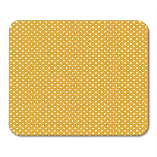 Muismat geel mosterd goud crème stippen polkadot chic cottage muismat muismat