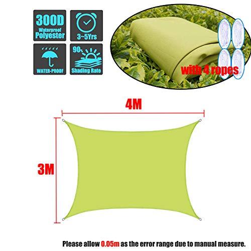 hdfj12142 Outdoor Garden Patio Party Sonnenschutz Markise Baldachin Rechteck Sonnenschirm Segel, aus hochwertigem Polyester, 95{aae42635b0969960e39f81f1a1258a8a1ad5147eff4129f12e1a7cc02a597fe7} UV-beständig, wasserdicht-3x4m