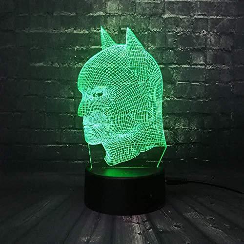 Ilusión óptica 3D Batman renen Mall 7 colores Interruptor USB Power Table Niños Juguetes Decoración Decoraciones Navidad San Valentín Regalo Regalo de cumpleaños