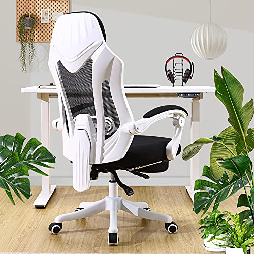 OWLN PHILI Executive Desk Chair Mesh Ergonomic Office High Back Recliner with Foot Rest, Adjustable Tall Task Chair with Armrests and Lumbar Support (White)