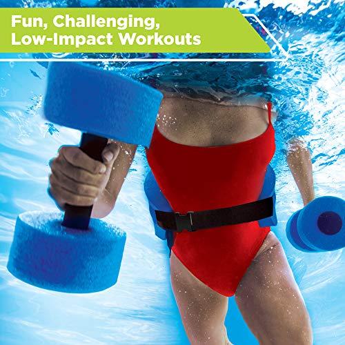 New & Improved AQUA 6 Piece Fitness Set for Water Aerobics, Pool Exercise Equipment, Aquatic Swim Belt, Resistance Gloves, Barbells, Model:AF4730 2