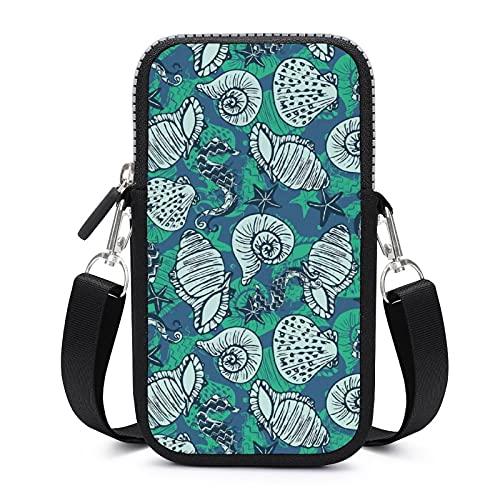 Bolso bandolera para teléfono móvil con correa extraíble para el hombro, diseño de estrellas de mar, a prueba de sudor, funda para teléfono y muñeca al aire libre, bolsas para niñas