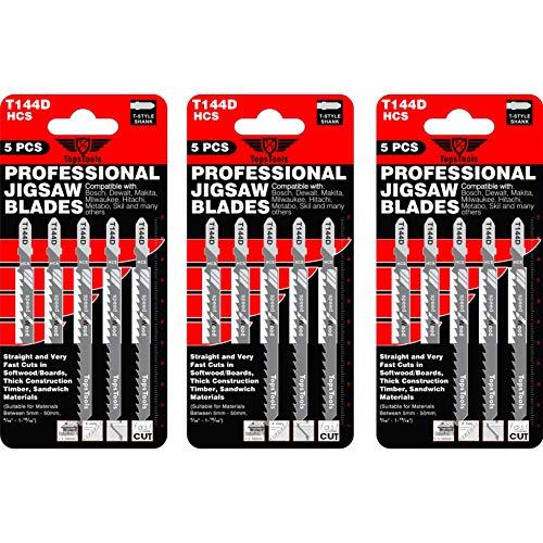 15 x TopsTools T144D Stichsägeblätter für Bosch, Dewalt, Makita, Milwaukee und viele mehr