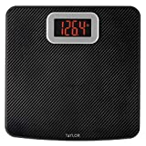 Taylor Precision Products Digital Scales for Body Weight, High 400 LB Capacity, Carbon Fiber Anti-slip Mat, Readout with Red Digits, Auto On and Off Scale, 11.8 x 11.8 Inches, Black