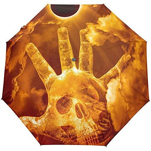 Happy Halloween Spooky Skull Sun Auto Close Sun Rain Paraguas