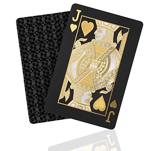 Premium Mattschwarze Spielkarten, Pokerkarten mit glänzendem Diamant-Schwarz & HD-Druck, wasserdichtes Kartendeck, waschbar und flexibel, hochwertiges Kunststoffmaterial, Familienspiel-Party
