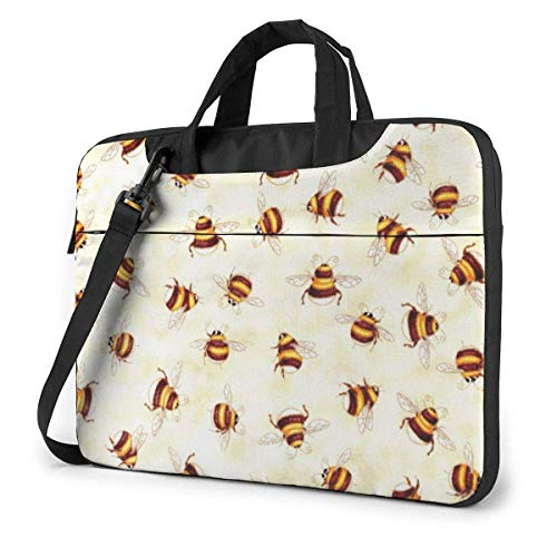 DJNGN Laptop Shoulder Bag Laptop Case 13 Inch, Bee Pattern Computer Sleeve Cover with Handle, Business Briefcase Protective Bag