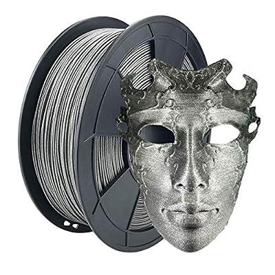 ZIRO 3D Printer Filament PLA-Diamond Series 1.75 1KG(2.2lbs), Dimensional Accuracy +/- 0.05mm,Silver