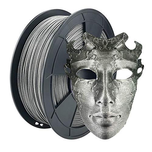 ZIRO PLA Glitter Filament 1.75mm,3D Printer Filament PLA-Diamond Series 1.75 1KG(2.2lbs), Dimensional Accuracy +/- 0.05mm,Diamond Silver