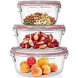 Home Fleek - Set de 3 Envases de Vidrio Circular para Alimentos | Recipientes Herméticos de Cristal Para La Cocina | Apto para Lavavajilla, Horno, Microondas, Congelador | Sin BPA (Rojo, Set de 3)