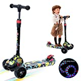 Foldable Lightweight Kick Scooter for Toddlers with 3 LED Flashing Wheels, 4 Adjustable Handlebar,Extra-Wide Deck and All-Covered Brake Great for Toddlers from 3 to 8 Year-Old,with Musical Graffiti