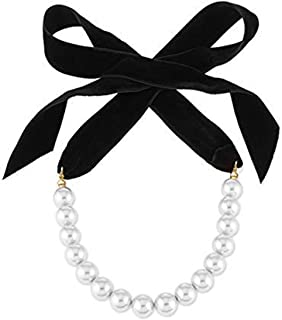 Punk Long Wide Black Velvet Ribbon Choker Bow Tie Simulated Pearl Beads Charm Collar Necklace Gothic Jewelry New Year Gifts