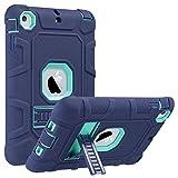 ULAK iPad Mini 1/2/3 Hülle, [Armor Serie] Stoßfest Schutzhülle mit Kickstand 3 in 1 Soft Silikon + Hart PC Tasche Standfunktion case Cover für Apple iPad Mini/Mini 2/Mini 3 - Marine Minze