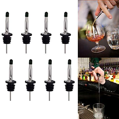 nuluxi Acero Inoxidable Vertedor para Botellas Velocidad Botella Vertedores con Tapón Dosificador de Boquilla de Licor Boquilla de Vertido para Botellas Vino, Aceite, Vinagre, Aceite, Cóctel y Jugo