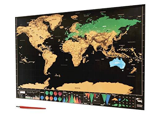 DESIGNIO - Mappa del mondo da grattare - include penna raschietto + sacchetto con 15 puntine - Confini Distinti - Colori vivaci e luminosi - Edizione Deluxe - 82,5 x 59,5 cm