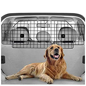rabbitgoo Dog Car Barrier for SUVs, Van, Vehicles – Adjustable Large Pet SUV Barriers Universal-Fit, Heavy-Duty Wire Mesh Dog Car Guard, SUV Pet Car Gate for Vehicles, Safety Car Divider for Dogs