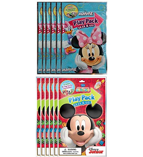 Mozlly Value Pack - Bendon Disney Minnie and Mickey Mouse Playback Grab and Go Fun Size Coloring Books - Each Kit Includes 4 Crayons 1 Sticker Sheet and Coloring Book - Party Supplies Pack (12pc Set)