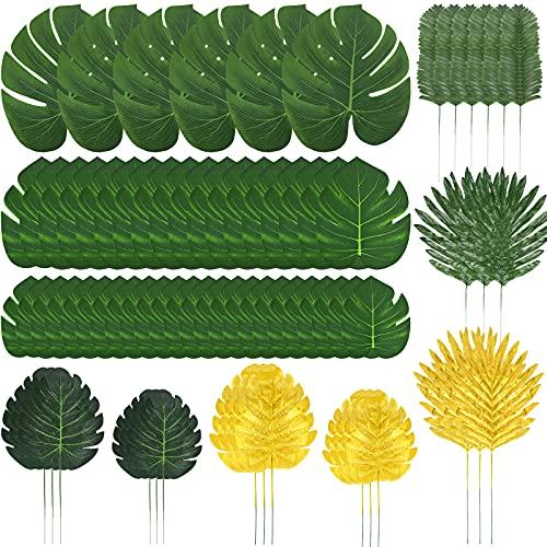 72 Stück 10 Arten Künstliche Palmenblätter, Tropische Pflanze Palm Blätter Monsterablätter, Plastikpalmenblätter, Safariblätter für Dschungel Party Strand Geburtstag Luau Hawaiian Party Dekorationen