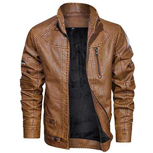 Read About Redacel Men's Vintage Stand Collar Leather Jacket Warm Casual Biker Motorcycle Cool Bombe...