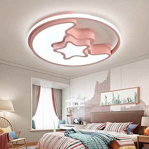 Lámpara De Techo Regulable Para Habitación Infantil,Plafón Led De Techo Dormitorio Niño/Niña,Luz De Luna Estrella Romántica 48 * 5,5 Cm Tricolor Rosa Claro