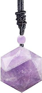 Reizteko Amulet Star of David Hexagram Pendant Necklace Adjustable Cord (Amethyst)