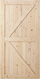 SmartStandard 42in x 84in Sliding Barn Wood Door Pre-Drilled Ready to Assemble, DIY Unfinished Solid Hemlock Wood Panelled Slab, Interior Single Door, Natural, K-Frame (Fit 8FT Rail)