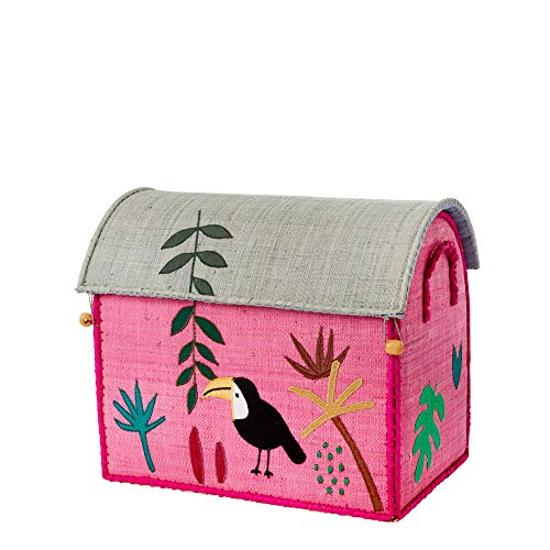 Rice Aufbewahrungstruhe Spielzeugaufbewahrung Dschungel Pink Klein